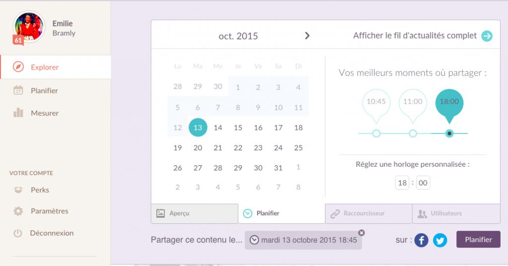 Klout publier engagement interaction temps contenu
