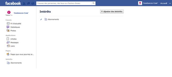 Création de la liste d'intérêt Facebook étape 2