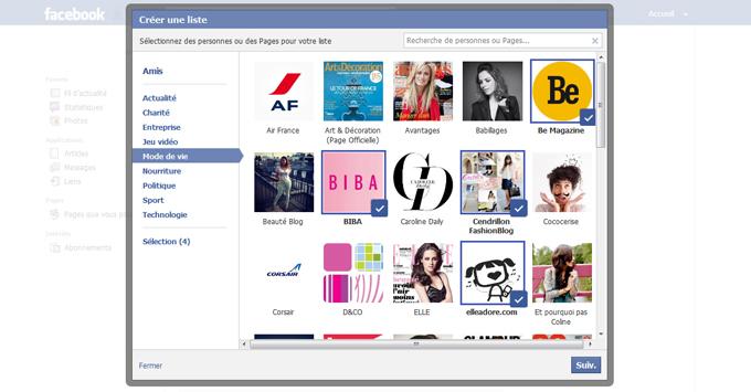 Création de la liste d'intérêt Facebook étape 5