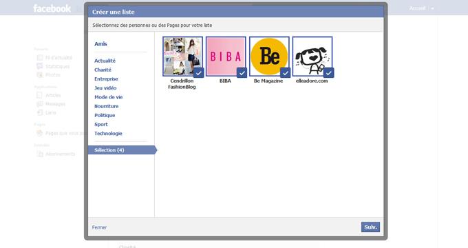 Création de la liste d'intérêt Facebook étape 6