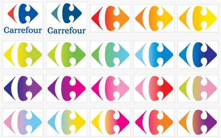 logo carrefour nouveau couleur palette