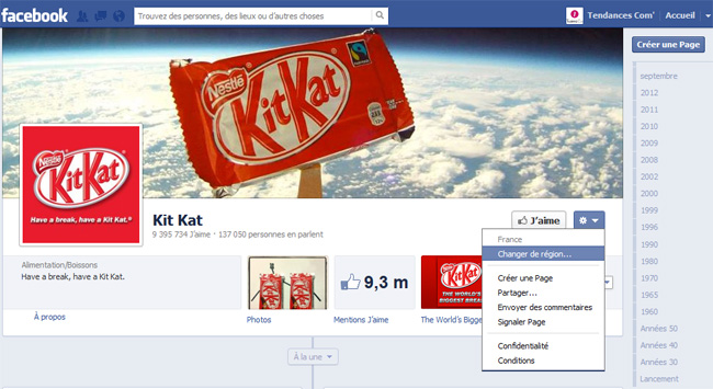 Page fan facebook Kit Kat changer région