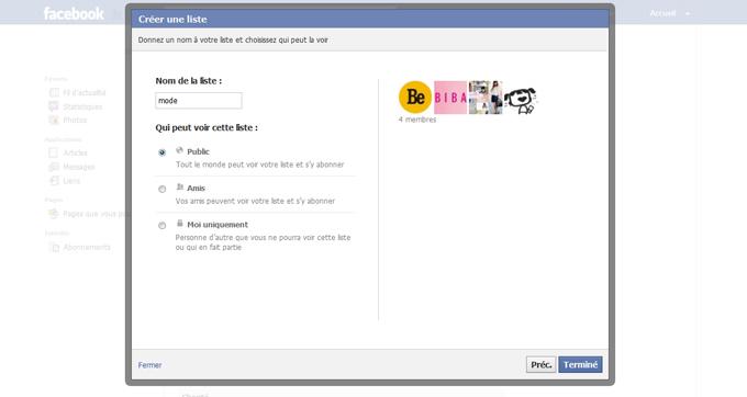 Création de la liste d'intérêt Facebook étape 7