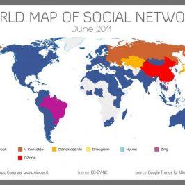 La carte des réseaux sociaux les plus utilisés dans le monde.