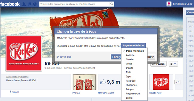 Page fan Facebook kit kat pays